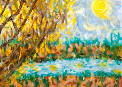 colorful abstract landscape painting of autumn river