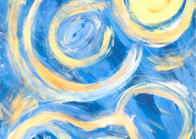 painting of bright, yellow swirls on top of blue background