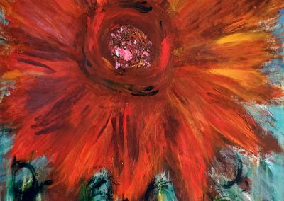 abstract painting of a sunflower