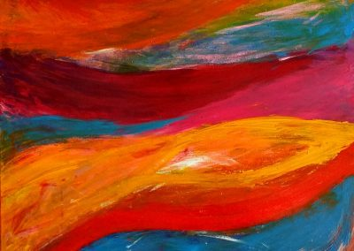 painting of lively, colorful waves