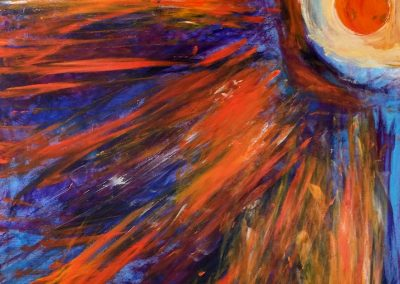 painting of vivid, abstract landscape with an orb of light on the right