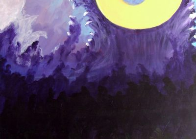 painting of abstract, purple landscape with the moon overlooking it