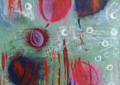 abstract painting of orbs and eyes
