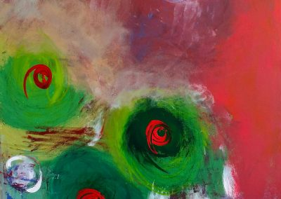 abstract painting of orbs and three green and red eyes
