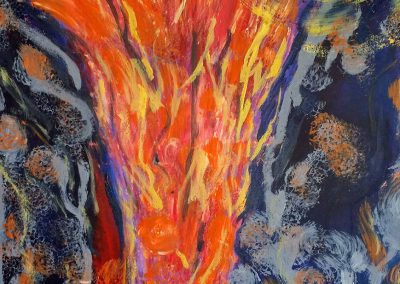 abstract painting of a wildfire