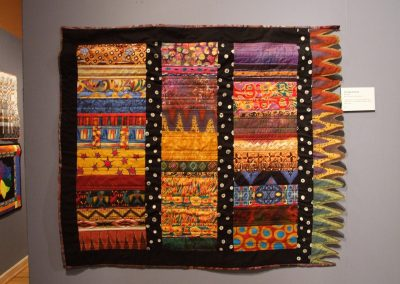 photo of mendoza's quilting work with multiple different patterned fabrics and dotted borders