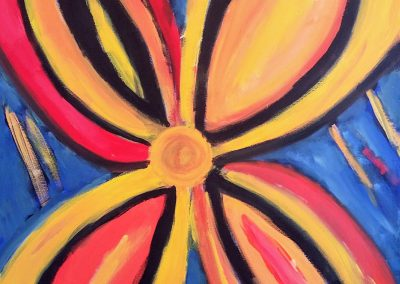 expressive, abstract painting of a flower