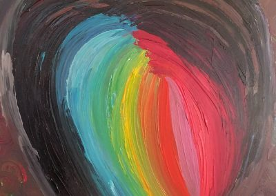 painting of a black heart with a rainbow in the core