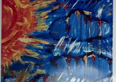 mendoza's artwork on a schooner red wine