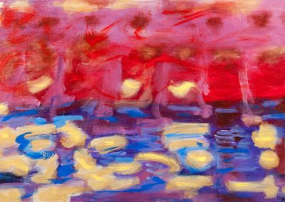 painting of abstract landscape with reds, purples, blues, and whites