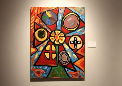 photo of mendoza's abstract artwork of 7 orbs