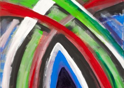 abstract painting with green, red, white, blue, and grey