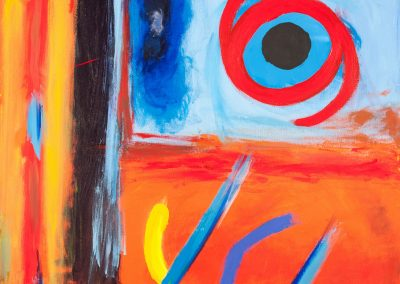 abstract painting with vivid reds, oranges, yellow, and blues
