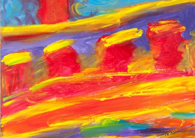 painting of a colorful, abstract landscape