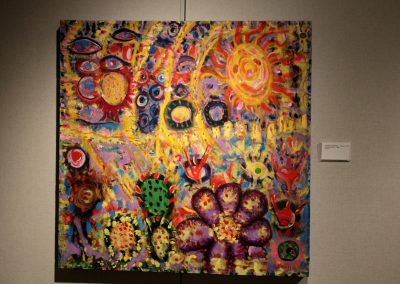 photo of mendoza's artwork of an abstract, colorful painting of plants