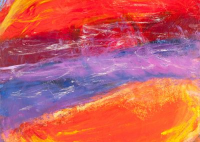 abstract painting with purple background and reddish orange half moons
