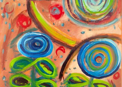 painting of abstract, colorful flowers