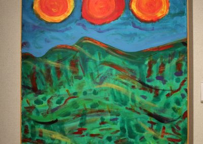 photo of mendoza's artwork of an abstract, colorful painting of a field