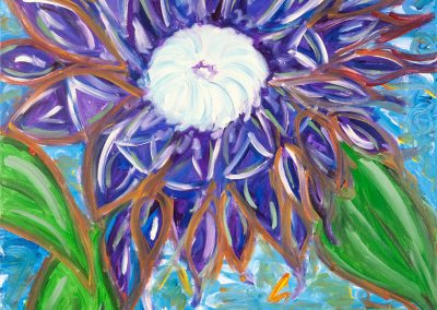 painting of an abstract, purple flower