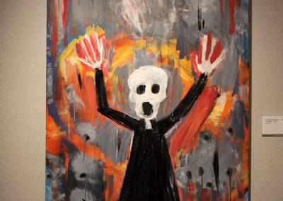 photo of mendoza's artwork of a figure screaming