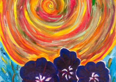 painting of the sun and three purple flowers