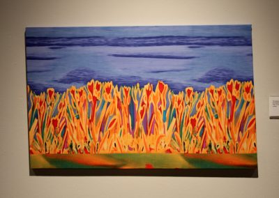 photo of mendoza's artwork of an abstract, colorful painting