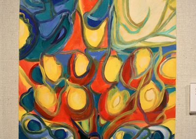photo of mendoza's artwork of an abstract, colorful painting of a tree