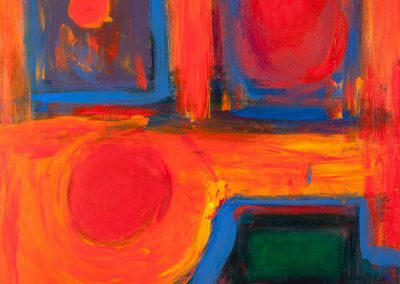 abstract, orange-tinted indoor painting
