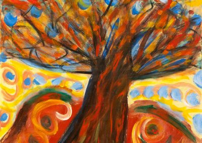abstract, vivid painting of tree