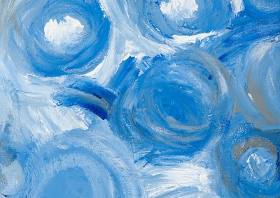 abstract painting with blue orbs