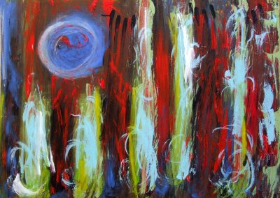 painting of abstract, vivid wildfire