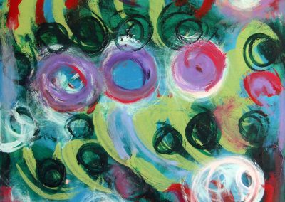 painting of abstract landscape with orbs and spirals all throughout