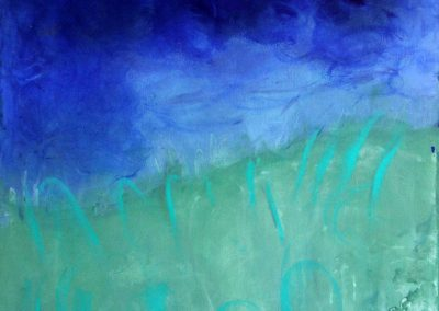 abstract landscape with dark blue background and green grass