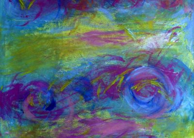 abstract painting with green and blue background with expressive spirals