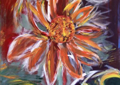 painting of a flower resembling fire