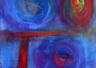 abstract, blue and red painting