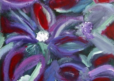 painting of multiple purple and red flowers