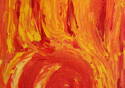 abstract painting of a fire
