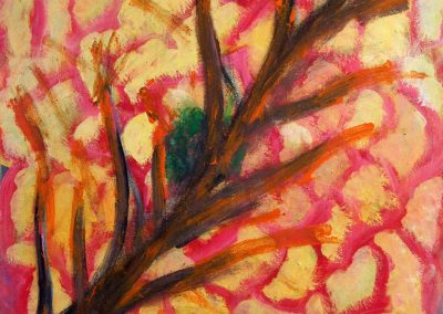 painting of energetic red and yellow tree