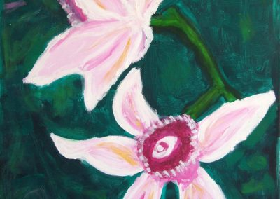 painting of pink flowers