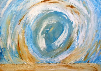 abstract painting of a sandstorm with a blue and white background