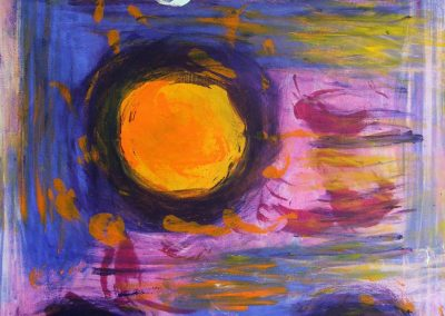 colorful abstract painting of three suns against purple background