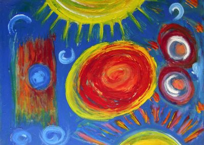 colorful, abstract painting of suns