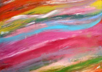 painting of vivid, abstract landscape with pinks, yellows, and blues