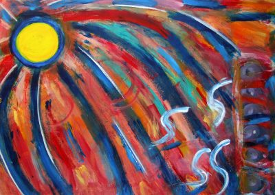 abstract painting of the sun and a storm depicted below it