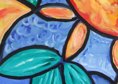 painting of abstract, colorful plants