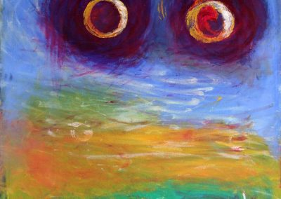 painting of vivid, abstract landscape with two giant orbs