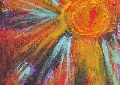 abstract painting of the sun