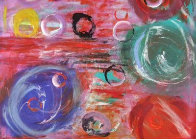 painting of vivid, abstract landscape with orbs throughout