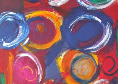 colorful, abstract painting of circles